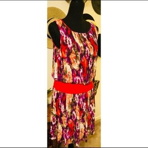 Eliza J Multi-printed Small Pleated Flare Dress
